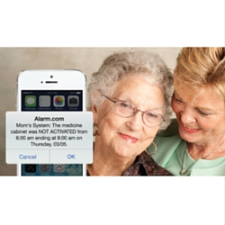 two older females checking alarm.com notification